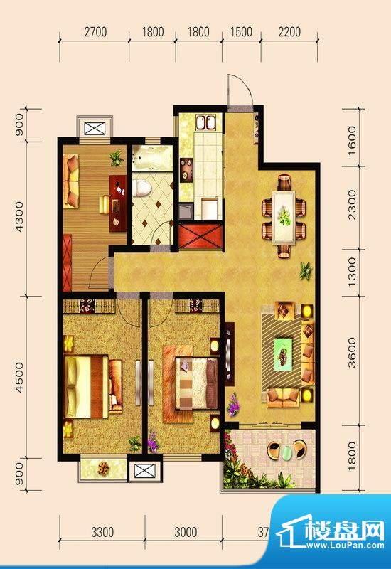 宁泽园G3户型图 3室面积:112.49m平米