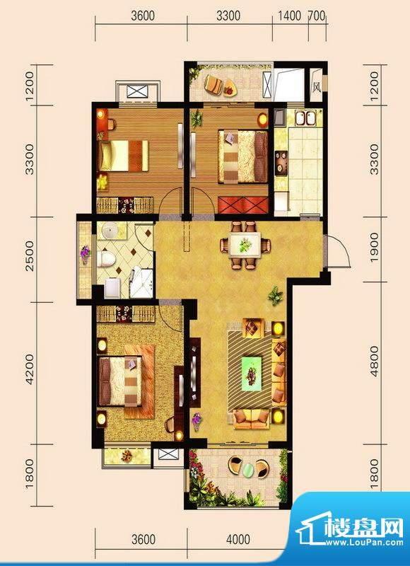 宁泽园Z1户型图 3室面积:120.49m平米