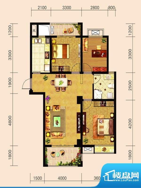 宁泽园Z2户型图 3室面积:117.35m平米