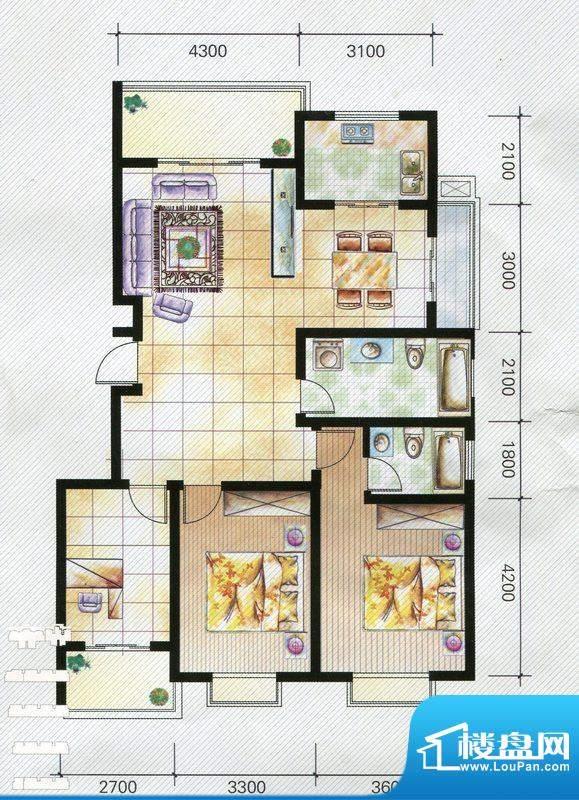 天泽水岸D户型 3室2面积:130.00m平米
