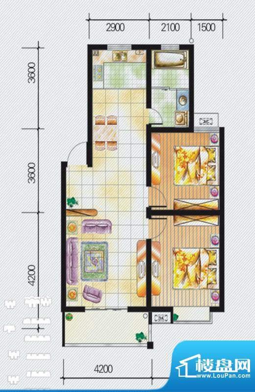 天泽水岸B户型 2室2面积:95.09m平米
