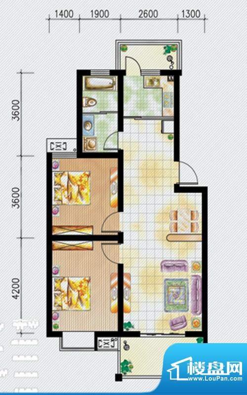 天泽水岸C户型 2室2面积:92.00m平米