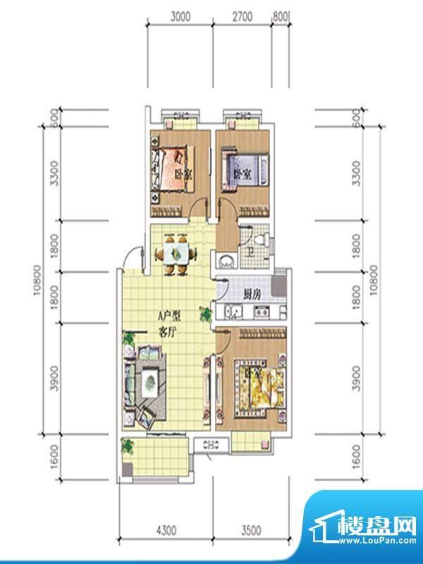 湖滨丽景A户型 3室2面积:86.76m平米