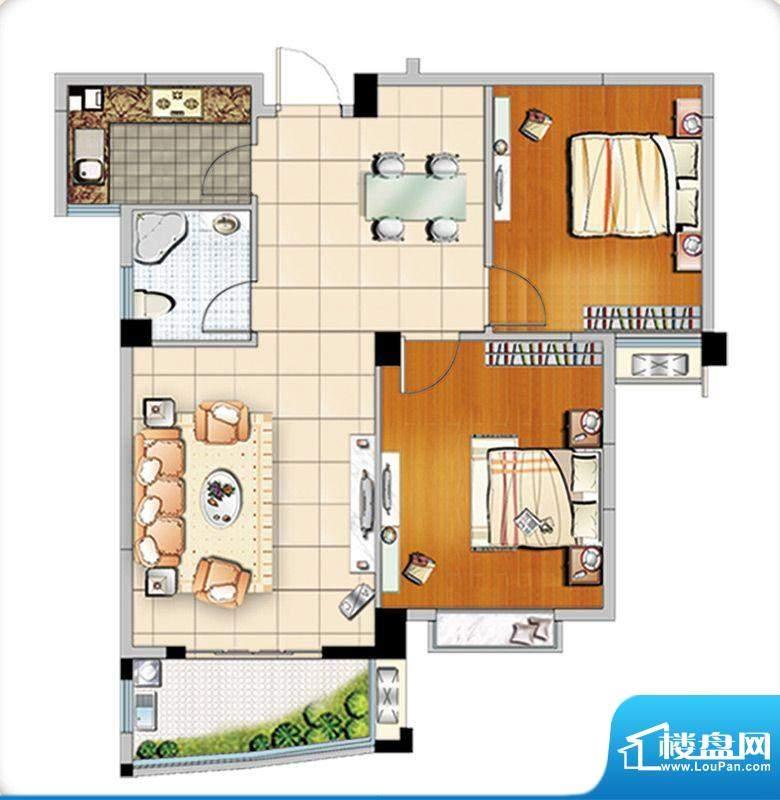 汇成上东B1户型 2室面积:89.00m平米