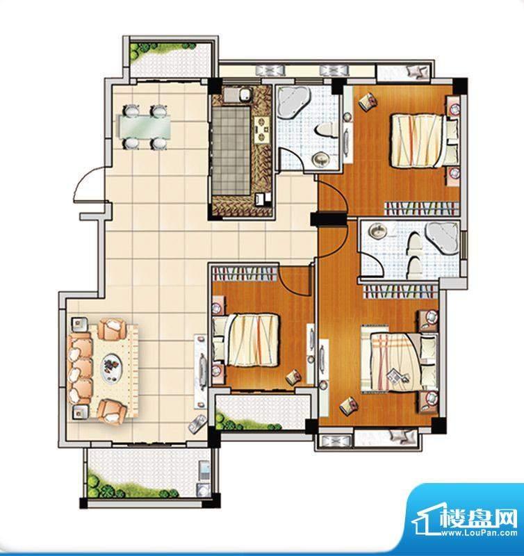 汇成上东C2户型 3室面积:120.00m平米