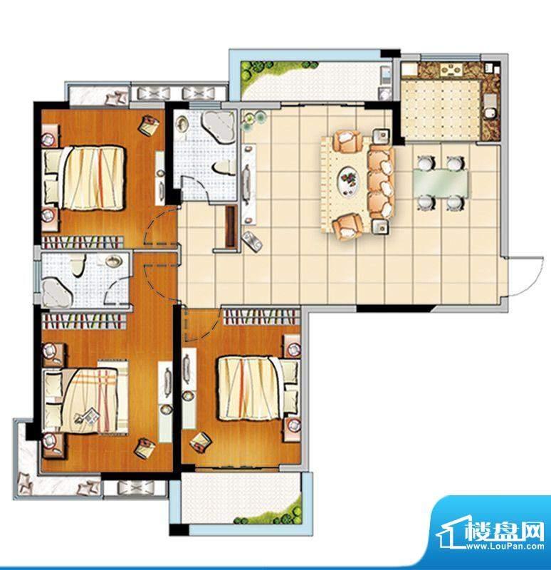汇成上东C3户型 3室面积:118.00m平米