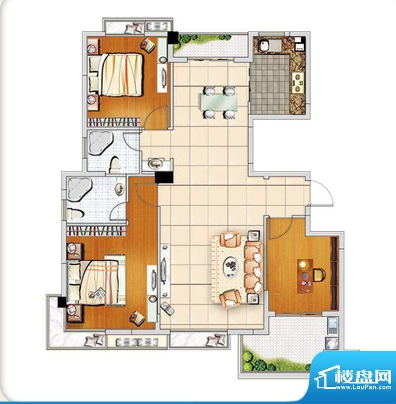 汇成上东A1户型 3室面积:126.00m平米
