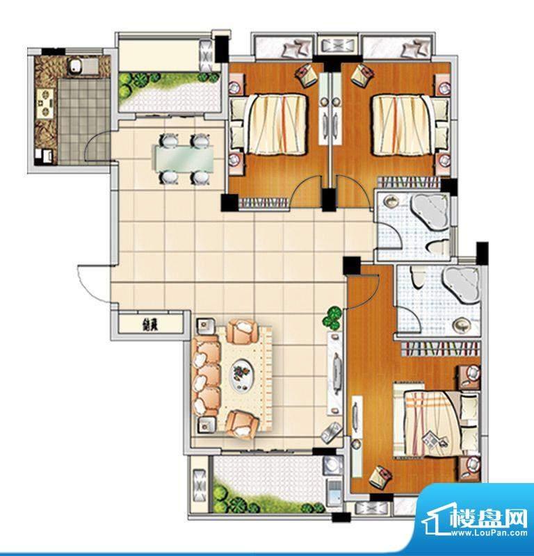 汇成上东A2户型 3室面积:127.00m平米