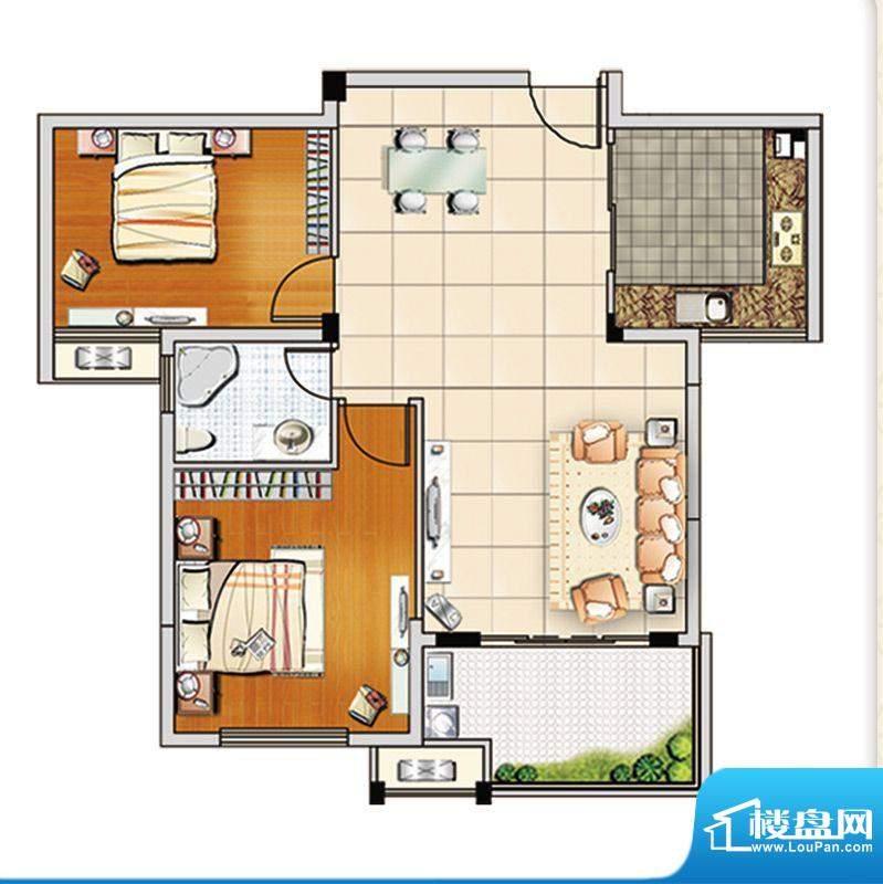 汇成上东A3户型 2室面积:89.00m平米