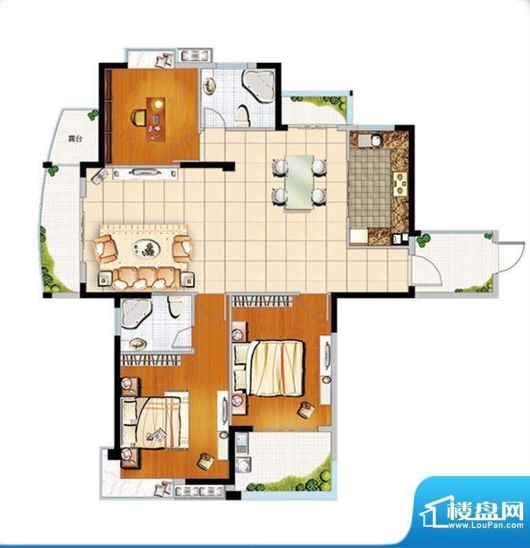 汇成上东B1户型 3室面积:139.00m平米