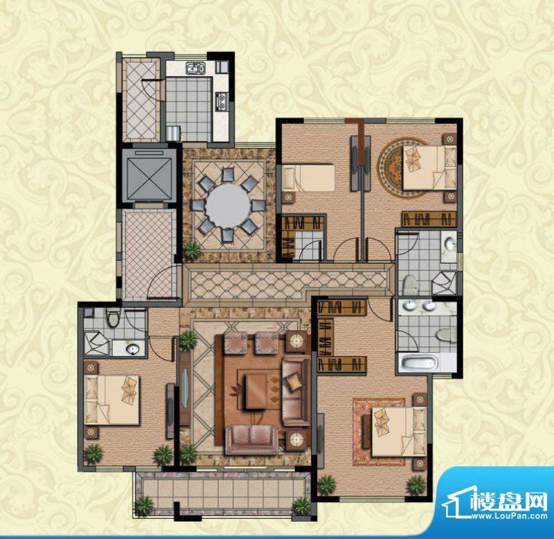 金海岸名邸高层A3户面积:194.12m平米