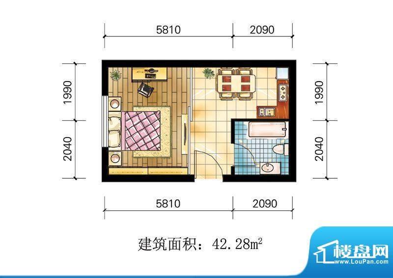 苹果公寓户型5 1室1面积:42.28m平米