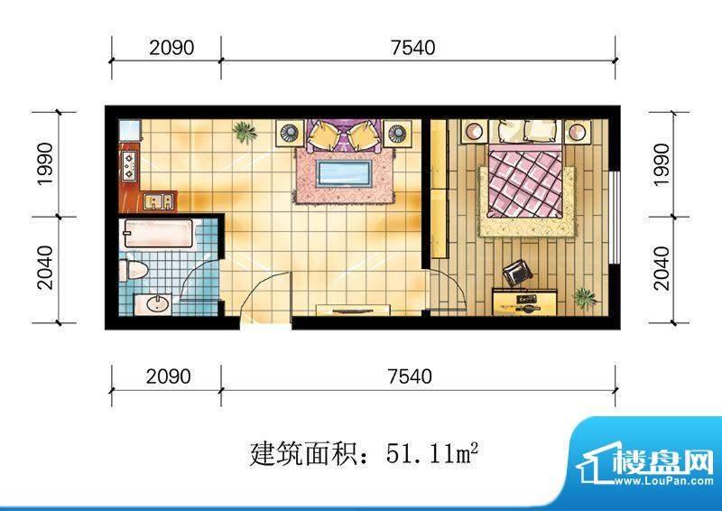 苹果公寓户型2 1室1面积:51.11m平米