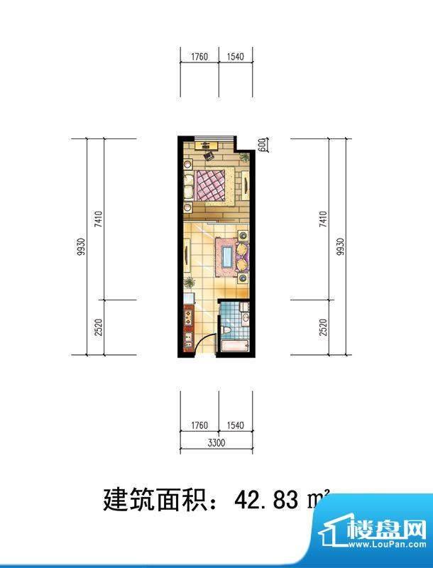 苹果公寓户型1 1室1面积:42.83m平米