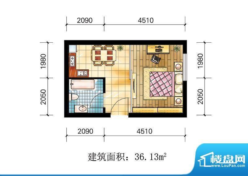 苹果公寓户型3 1室1面积:36.13m平米