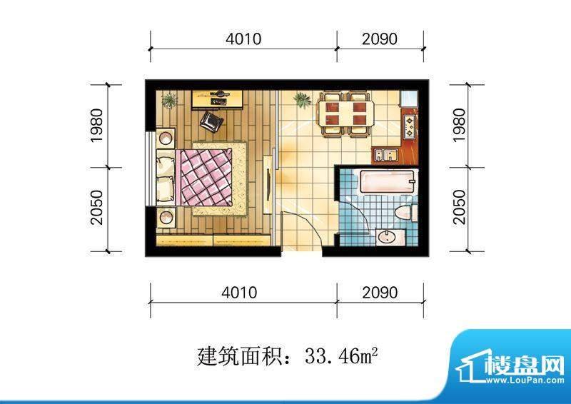 苹果公寓户型4 1室1面积:33.46m平米