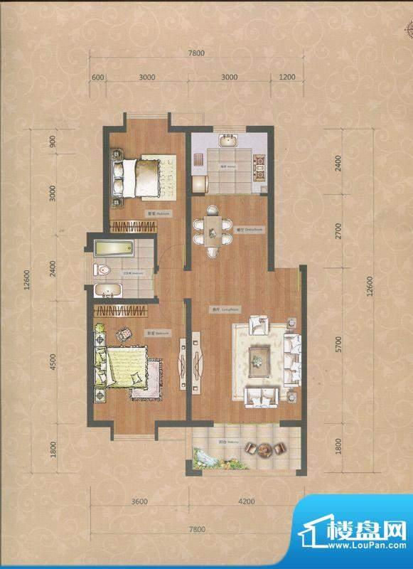 一品和莊二期8#楼A户面积:87.00m平米