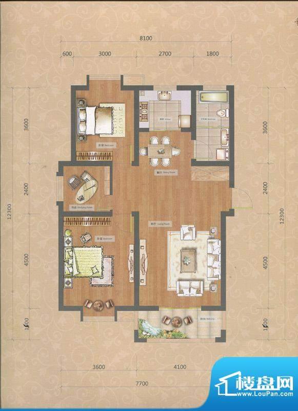 一品和莊二期12#楼E面积:101.00m平米