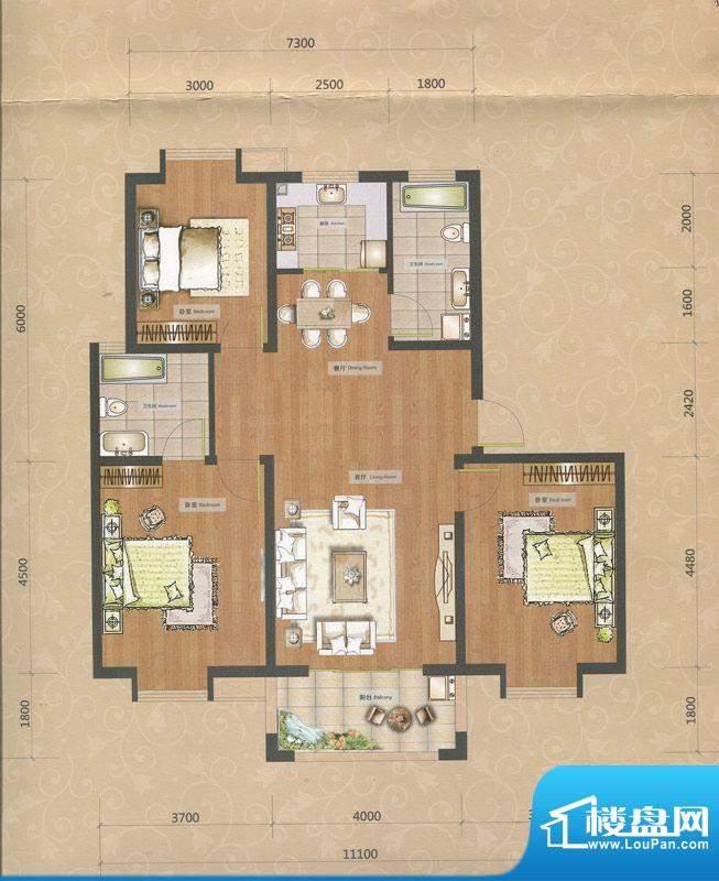 一品和莊二期12#楼J面积:123.00m平米