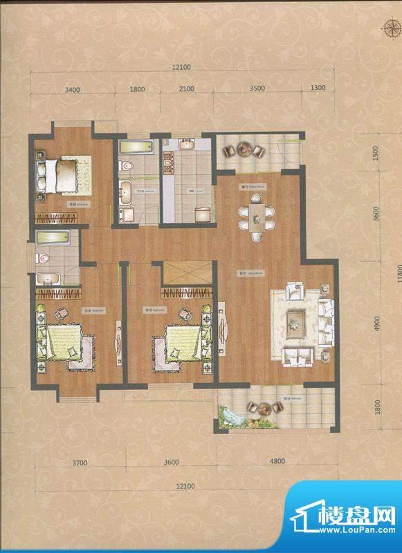 一品和莊二期21#楼L面积:129.00m平米