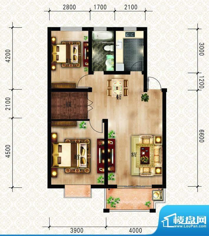 绿洲花园四期AB1户型面积:93.30m平米