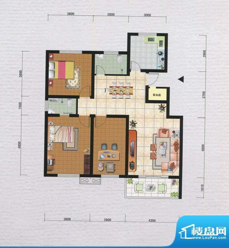 御府园A户型 3室2厅面积:120.89m平米