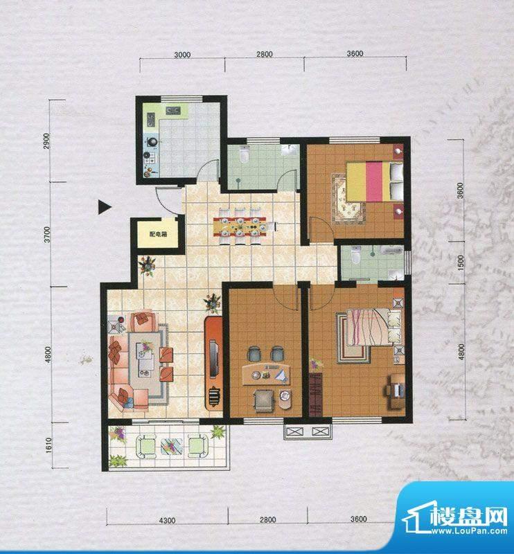 御府园B户型 3室2厅面积:119.88m平米