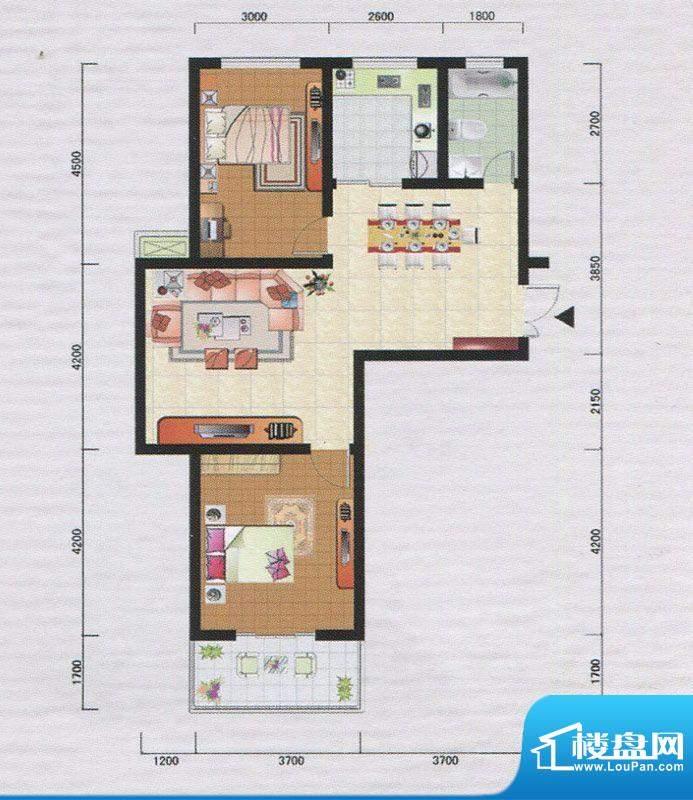 御府园C户型 2室2厅面积:93.56m平米
