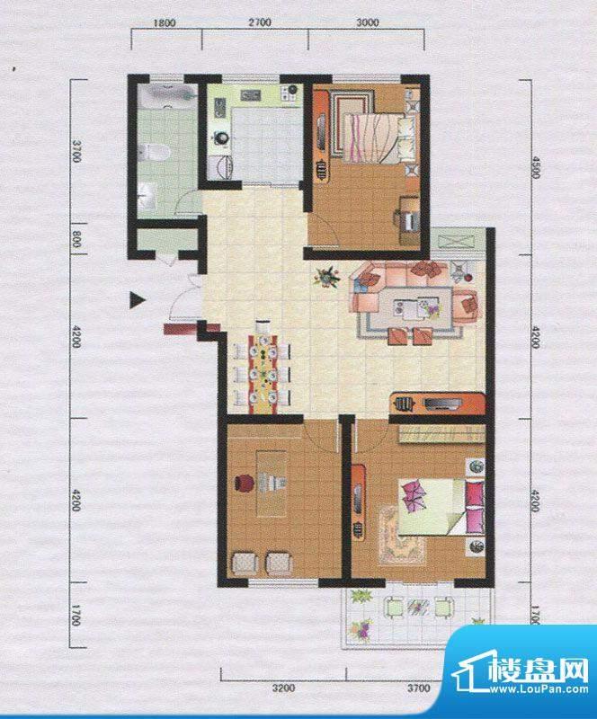 御府园E户型 3室2厅面积:109.47m平米