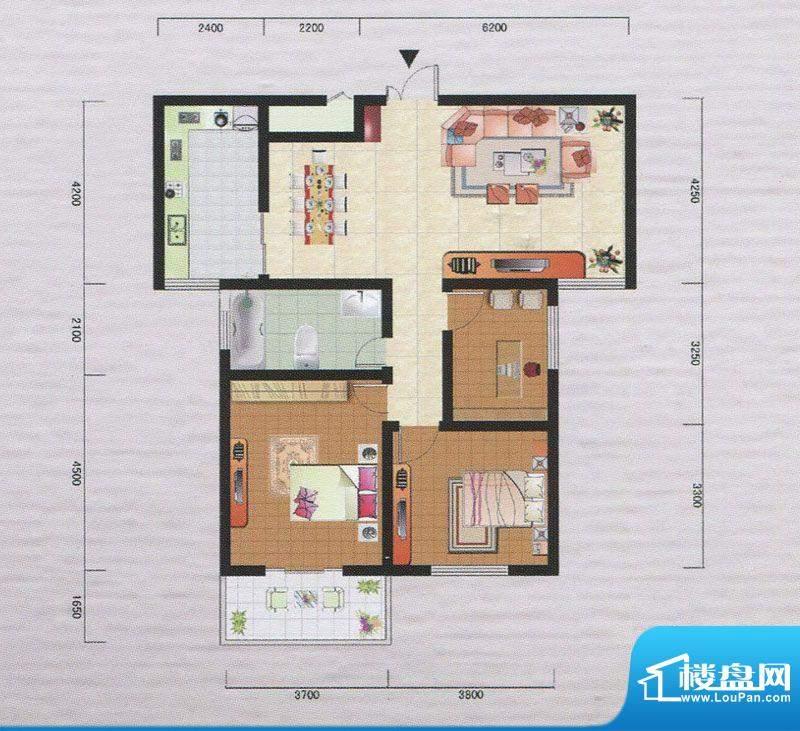 御府园D户型 3室2厅面积:110.64m平米