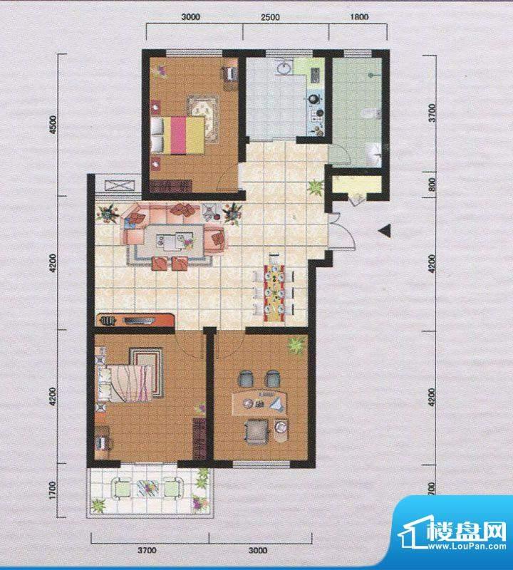 御府园F户型 3室2厅面积:105.66m平米