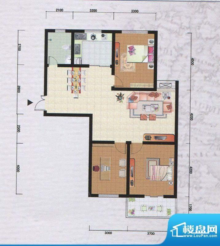 御府园G户型 2室2厅面积:120.71m平米