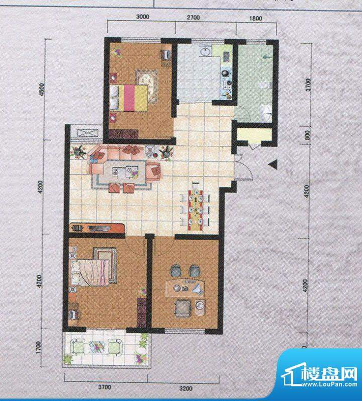 御府园H户型 3室2厅面积:120.89m平米