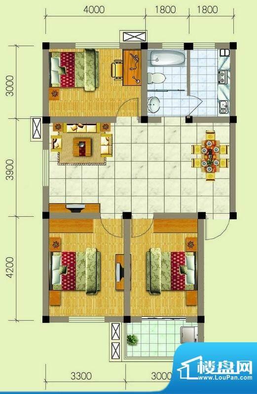 梧桐雅苑B1户型 3室面积:92.00m平米