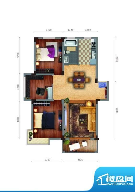 家天下B户型 3室2厅面积:106.11m平米