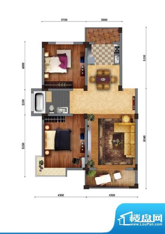 家天下C户型 2室2厅面积:89.04m平米