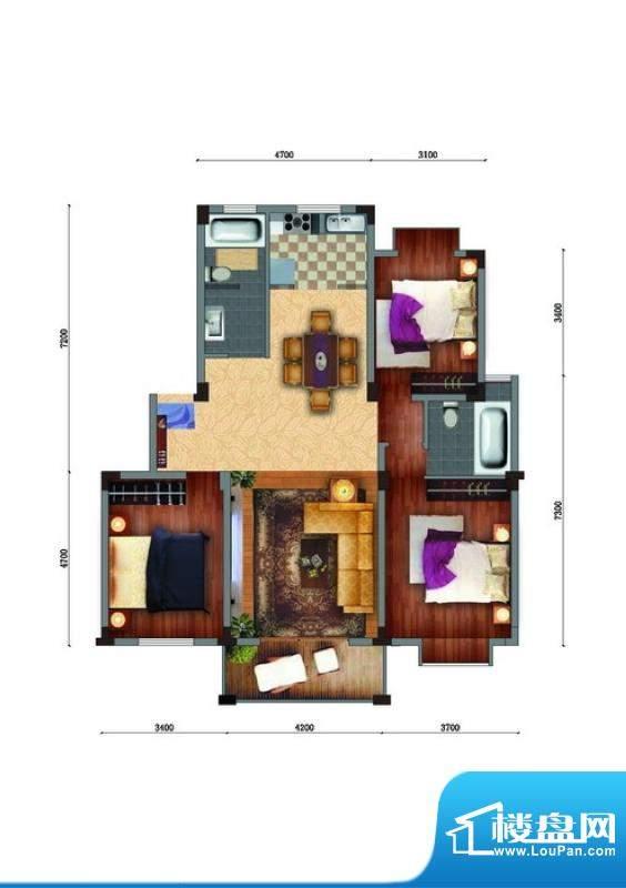 家天下E户型 3室2厅面积:121.72m平米