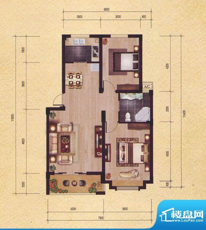 东昌玉龙公馆A1-1户面积:89.92m平米
