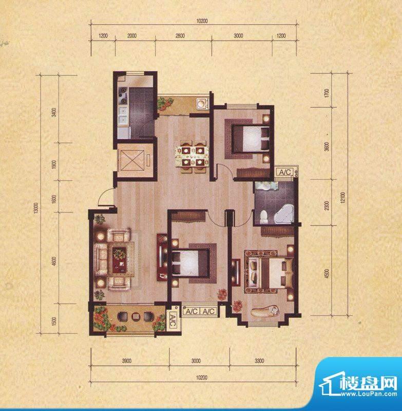 东昌玉龙公馆C1-1户面积:107.63m平米