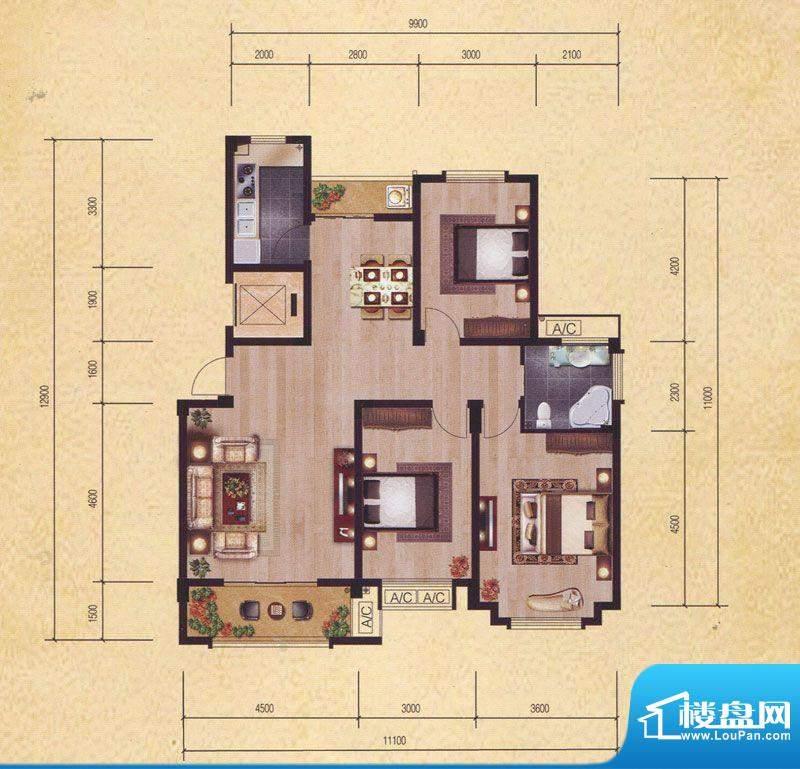 东昌玉龙公馆C2户型面积:116.79m平米