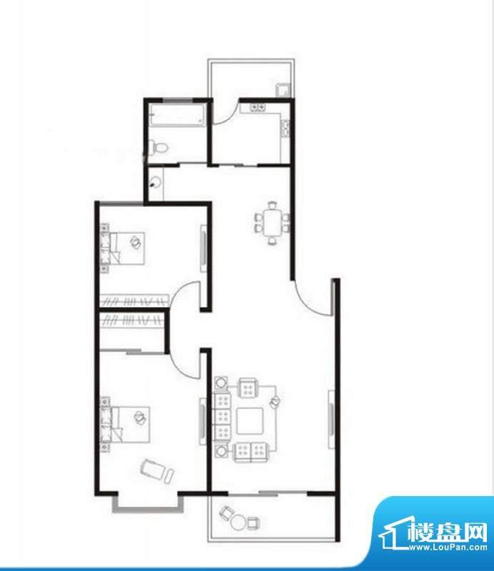 翠湖林居F户型 2室2面积:86.60m平米