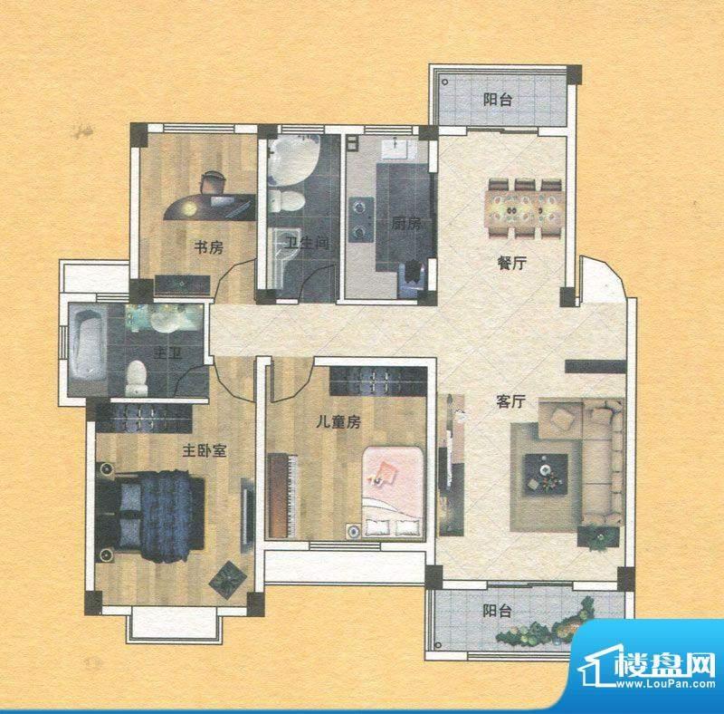 蓝实城市广场C1户型面积:121.00m平米