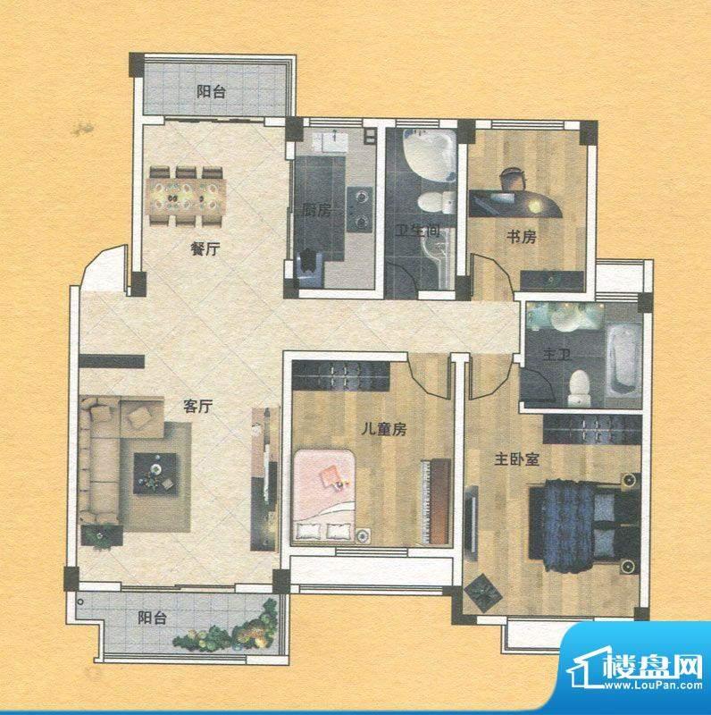蓝实城市广场D户型 面积:125.00m平米