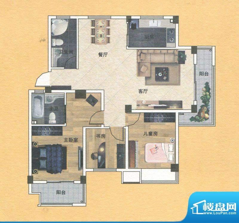 蓝实城市广场E户型 面积:118.00m平米