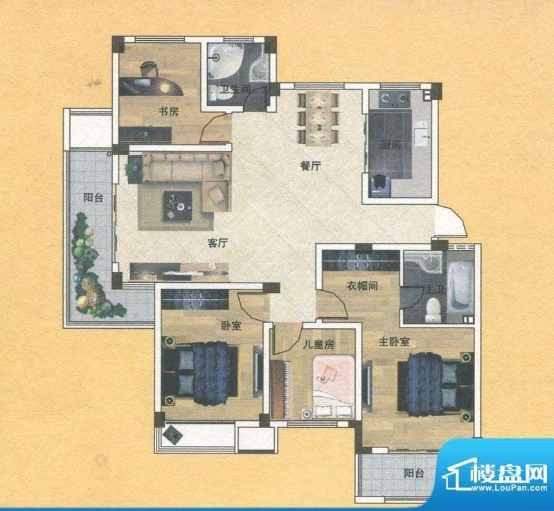 蓝实城市广场E1户型面积:133.00m平米