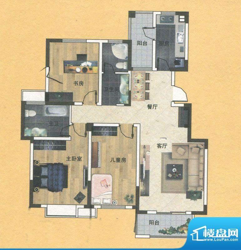 蓝实城市广场F1户型面积:129.00m平米