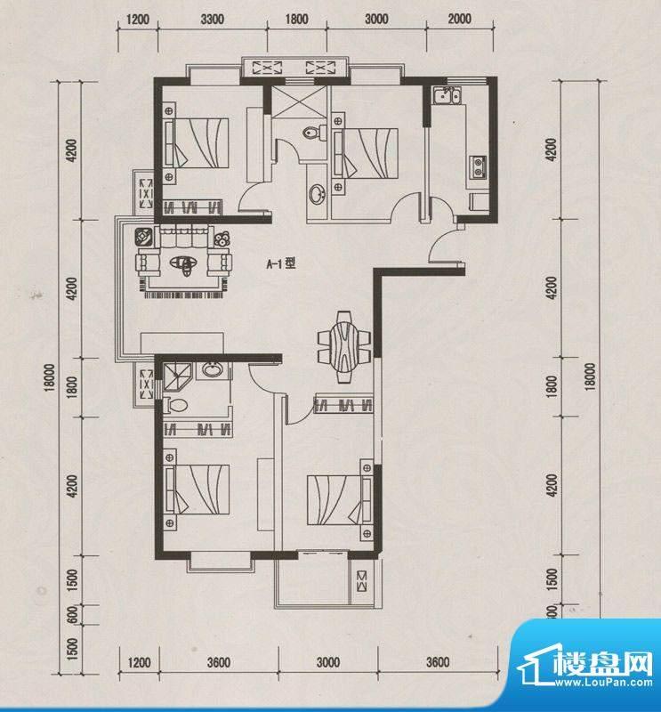 恒远中央公馆A-1户型面积:153.64m平米
