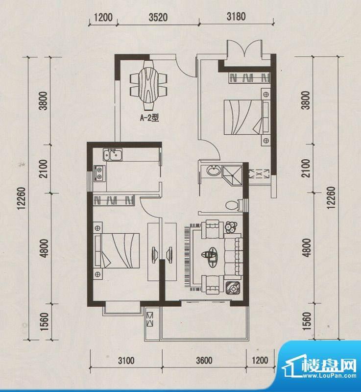 恒远中央公馆A-2户型面积:94.74m平米