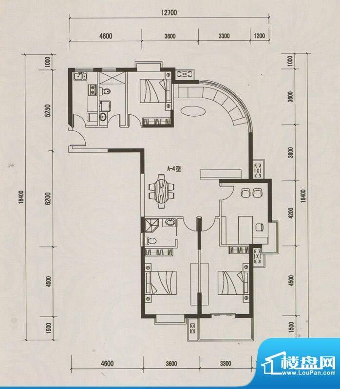 恒远中央公馆A-4户型面积:170.85m平米