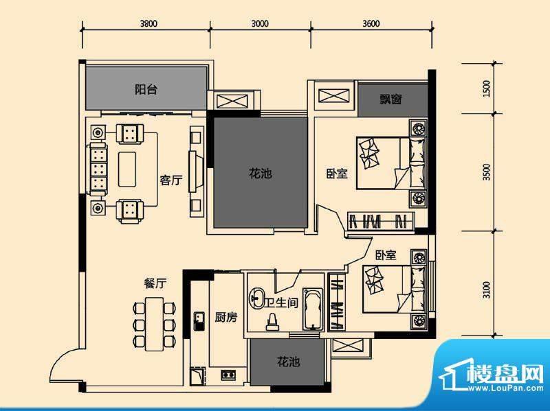 领地亚马逊三期2 3室面积:89.69m平米